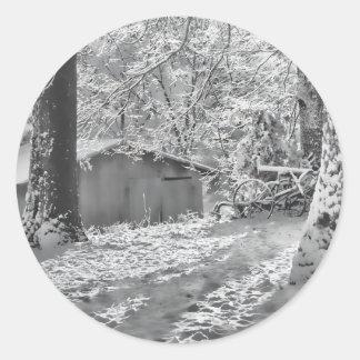 Black and White Backlit Rural Snow Scene Sticker