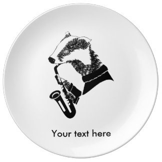 Black and White Badger Playing A Saxophone Porcelain Plates