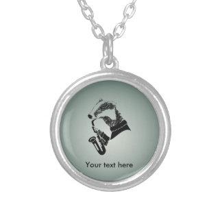 Black and White Badger Saxophone Customizable Round Pendant Necklace