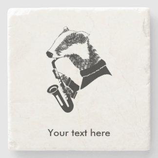 Black and White Badger Saxophone Customizable Stone Coaster