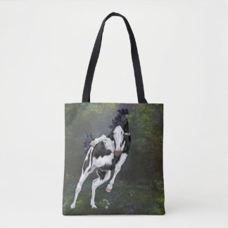 Black and White Bald Face Overo Paint Horse Tote Bag