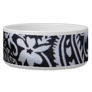 black and white bandana print dog bowl