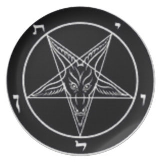 Black And White Baphomet Plate (Alter Center Piece
