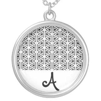 Black and White Bar Pattern Monogram Customizable  Round Pendant Necklace