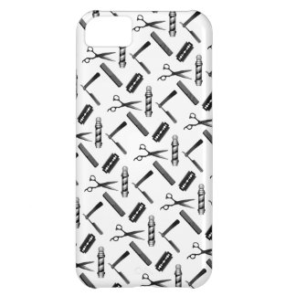 Black and White Barber's Pole Pattern iPhone 5C Cover