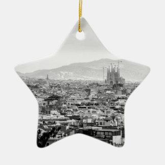 Black and White Barcelona Ceramic Ornament