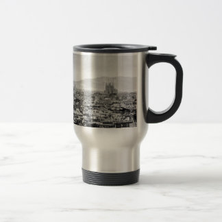 Black and White Barcelona Travel Mug