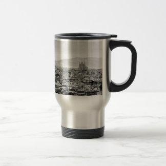 Black and White Barcelona Travel Mug
