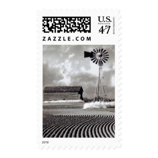 Black and White Barn and Windmill USPS Stamp