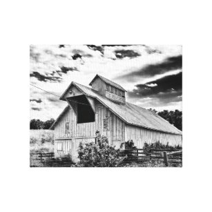 be366043adc Black and white barn canvas print