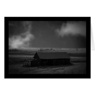 black and white barn card