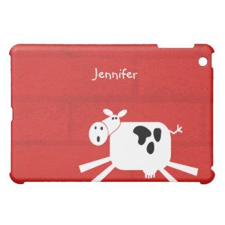 Black and White Barnyard Cow Custom Personalized iPad Mini Cases