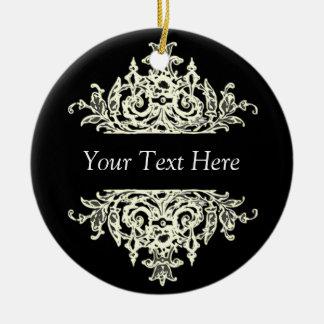 Black and White Baroque Christmas Ornament