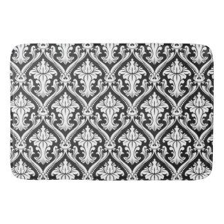 Black and White Baroque Damask Pattern Bath Mats