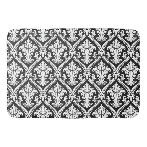 Black and white baroque damask pattern bathroom mat zazzle for Black and white damask bath mat