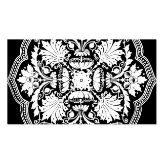 Black and White Baroque Style Pattern Double-Sided Standard Business Cards (Pack Of 100)