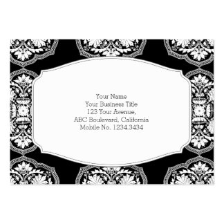 Black and White Baroque Style Pattern Large Business Cards (Pack Of 100)
