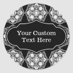 Black and White Baroque Style Pattern Classic Round Sticker