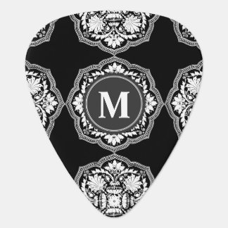 Black and White Baroque Style Pattern Guitar Pick