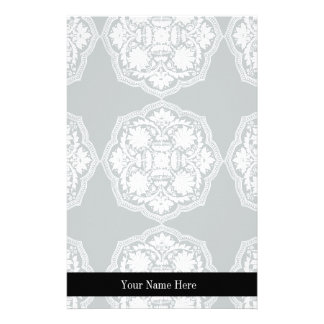 Black and White Baroque Style Pattern Stationery
