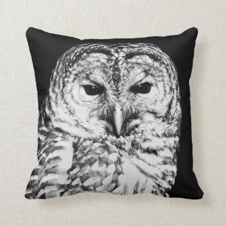 Black and White Barred Owl Face Throw Pillow