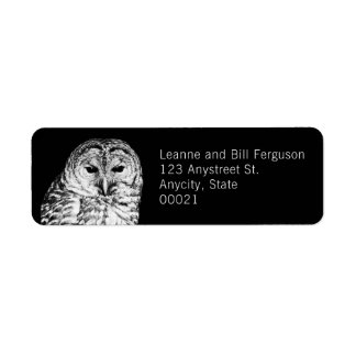 Black and White Barred Owl Nature Photography Label