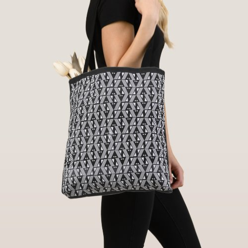Black and White Bars, Stripes and Dots Tote Bag