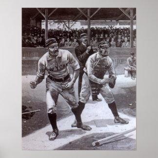 Black and white baseball image poster