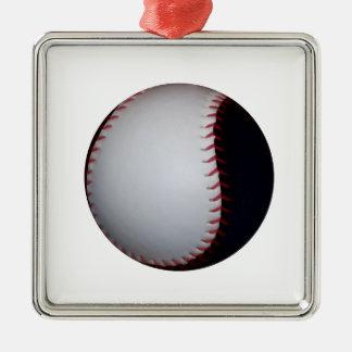 Black and White Baseball / Softball Metal Ornament