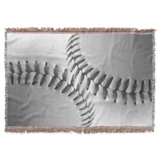Black and White Baseball Throw Blanket