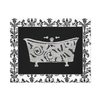 Black and White Bathtub Canvas Print