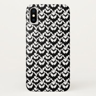 Halloween Themed Black And White Bats Goth Halloween Pattern iPhone X Case