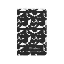 black and white bats halloween pattern journal