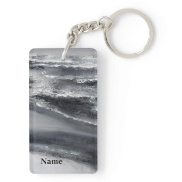Beach Themed Black and White Beach Abstract Keychain