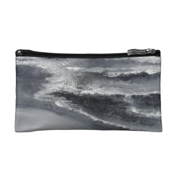 Beach Themed Black and White Beach Abstract Small Cosmetic Bag