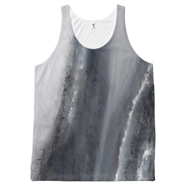 Beach Themed Black and White Beach Abstract Tank Top