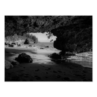 Beach Themed Black and White Beach Cave Poster