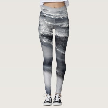 Beach Themed Black and White Beach Dance Leggings