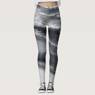 Beach Themed Black and White Beach II  Dance Leggings