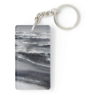 Beach Themed Black and White Beach Keychain