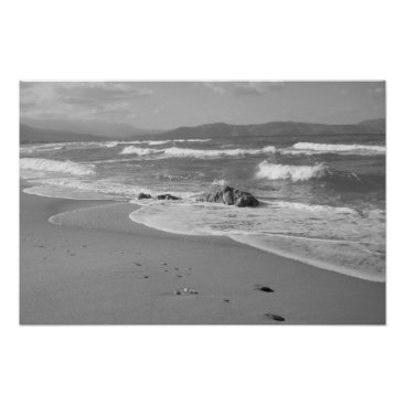 Beach Themed Black and White Beach Poster