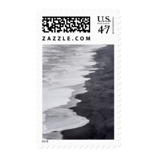 Black and white beach scenic postage