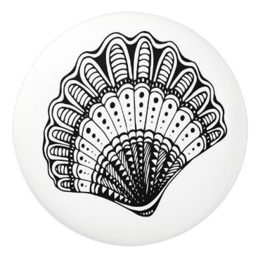 Beach Themed Black and White Beach Shell Drawer Knobs Ceramic Knob