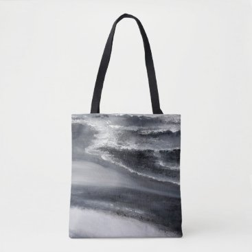 Beach Themed Black and White Beach Tote Bag