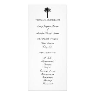 Black and white beach wedding ceremony program