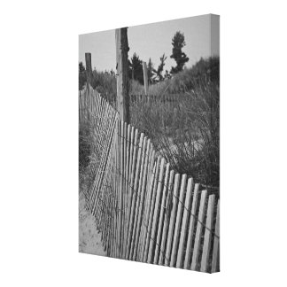Black and White Beach Wrapped Canvas Canvas Print