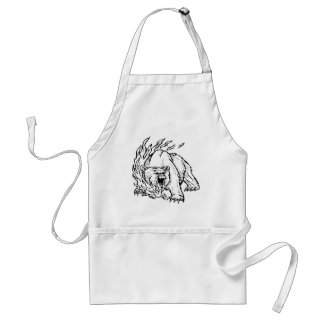 Black and white bear adult apron