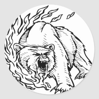 Black and white bear classic round sticker