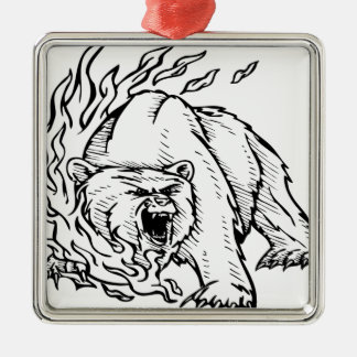 Black and white bear metal ornament