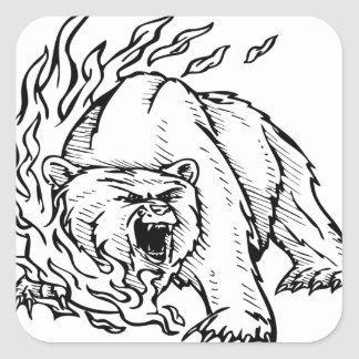 Black and white bear square sticker